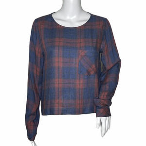 Cloth & Stone Top Plaid Blue Red Lace Up Back*